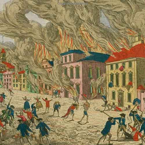 Detail showing burning buildings