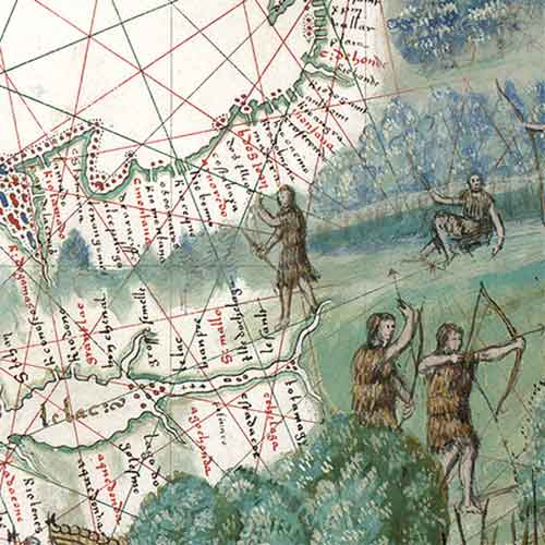 Detail of old map with hunters