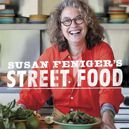 Chef and author Susan Feniger with her book Street Food
