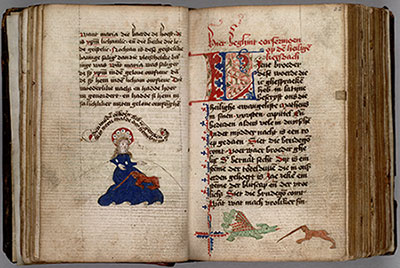 Colored drawing of a virgin with a unicorn in her lap; on the facing page, the beginning of a sermon and, at the bottom of the page, a dragon and unicorn fighting. HM 1048, back/front of leaf 21 and 22. The Huntington Library, Art Collections, and Botanical Gardens.
