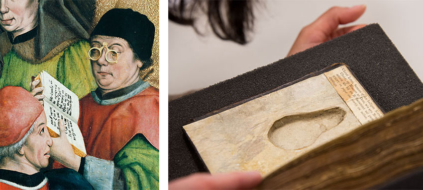 Left: The rivet spectacles in this image would fold into a pear shape. Detail of The Presentation in the Temple by Friedrich Herlin (1425/30–1500), left inner panel of the high altar of the St. Georg church in Nördlingen, Germany, currently housed at the Stadtmuseum Nördlingen. Photograph: Institute for Material Culture–University of Salzburg. Right: Close-up of the pear-shaped recess inside the front cover of HM 1048. Photograph by Kate Lain.