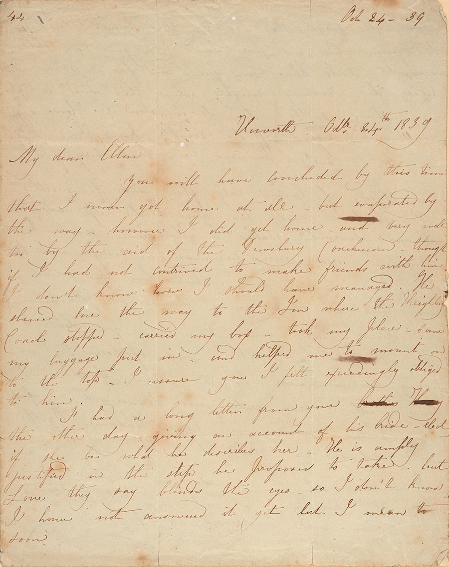 First page of Charlotte Brontë's letter to Ellen Nussey, Oct. 24, 1839. The Huntington Library, Art Collections, and Botanical Gardens.