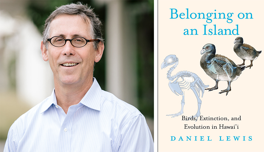 Left: Daniel Lewis, Dibner Senior Curator of the History of Science and Technology at The Huntington. Right: Cover of Belonging on an Island: Birds, Extinction, and Evolution in Hawai'i
