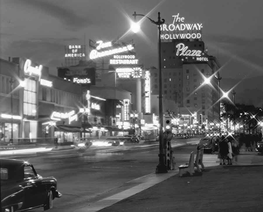 Vine Street at Sunset Boulevard, at Night, July 27, 1948. Photograph by Bob Plunkett. Ernest Marquez Collection. The Huntington Library, Art Museum, and Botanical Gardens.