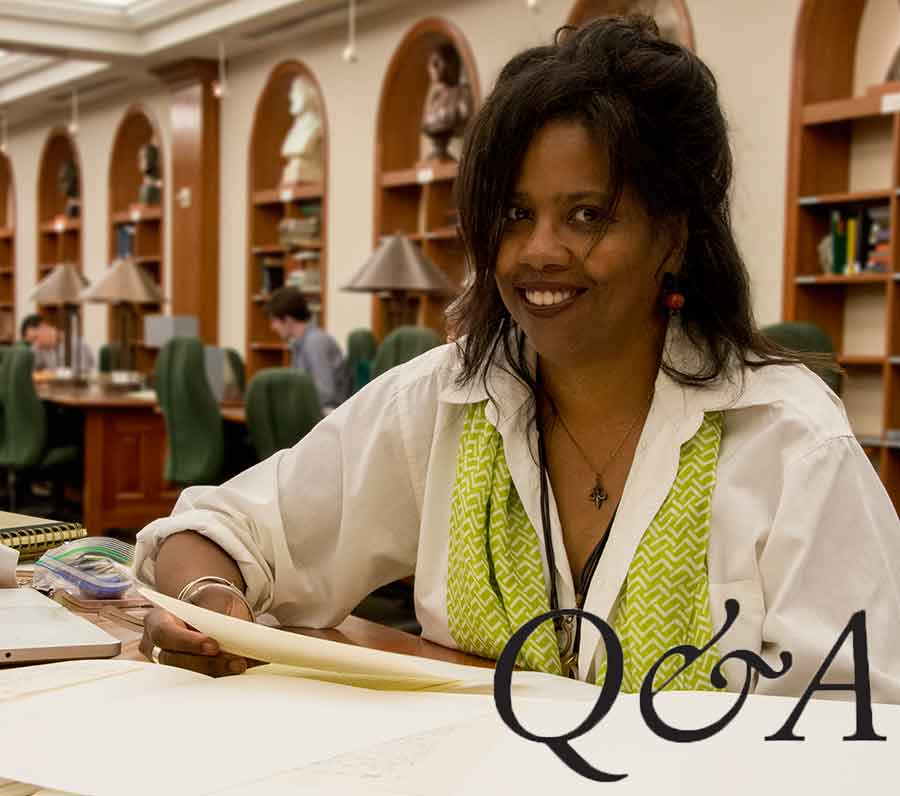 Los Angeles–based journalist and essayist Lynell George in The Huntington's Ahmanson Reading Room.