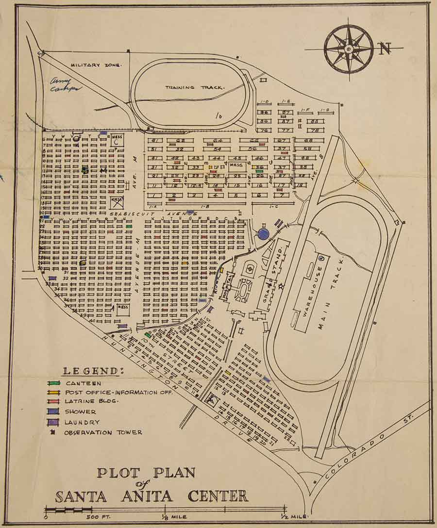 Plot plan of the Santa Anita Assembly Center, 1942, Arthur Ito papers. Assembly centers were created to house Japanese Americans temporarily until they could be transported to internment camps. The Santa Anita racetrack in California was one of the largest assembly centers in the nation, housing approximately 18,000 Japanese Americans. The Huntington Library, Art Museum, and Botanical Gardens.