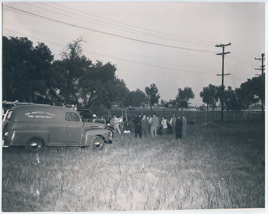 First responders arrive at the scene early in the evening of April 8, 1949. Rick Castberg Collection.