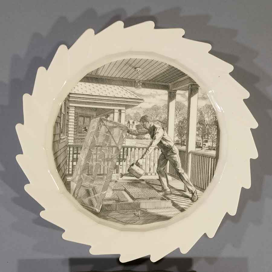 Andrew Raftery, March: Watering the Cold Frame, 2009-16, engravings transfer printed on glazed white earthenware, diameter: 12 1/2 in. (31.8 cm). The Huntington Library, Art Museum, and Botanical Gardens. Purchased with funds from Richard Benefield and John F. Kunowski. © Andrew Raftery.