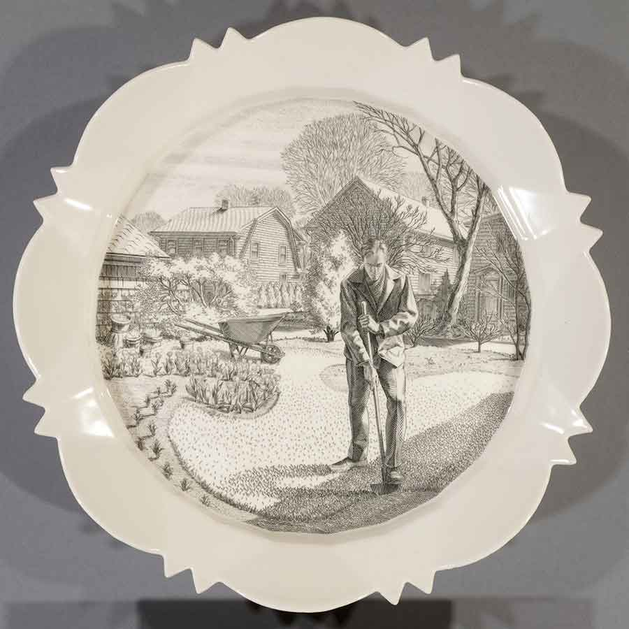 Andrew Raftery, April: Edging the Beds, 2009-2016, engravings transfer printed on glazed white earthenware, diameter: 12 1/2 in. (31.8 cm). The Huntington Library, Art Museum, and Botanical Gardens. Purchased with funds from Richard Benefield and John F. Kunowski. © Andrew Raftery.