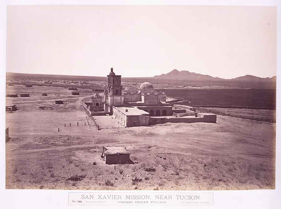 Carleton Watkins, Mission San Xavier del Bac, near Tucson, Arizona Territory, 1880. The Huntington Library, Art Collections, and Botanical Gardens.