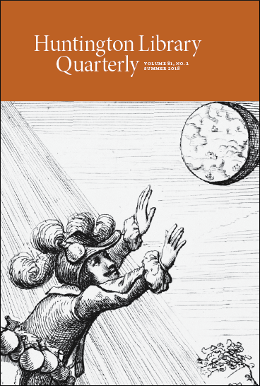 Cover image of issue of Huntington Library Quarterly.