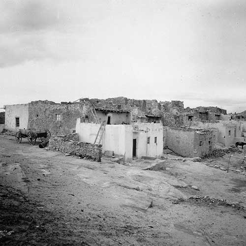 Black and white photo of the Pueblo of Laguna in New Mexico