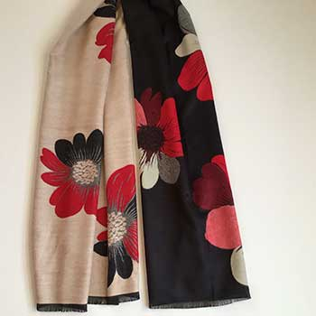 Large Flowers Black and Cream Scarf