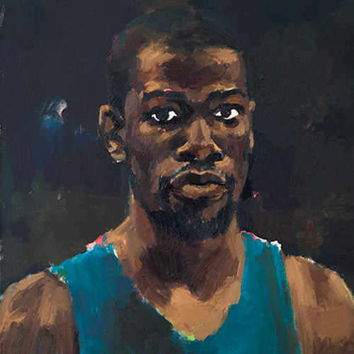 "Lynette Yiadom-Boakye portrait of a young black man in a blue tank top titled ""Greenhouse Fantasies"""