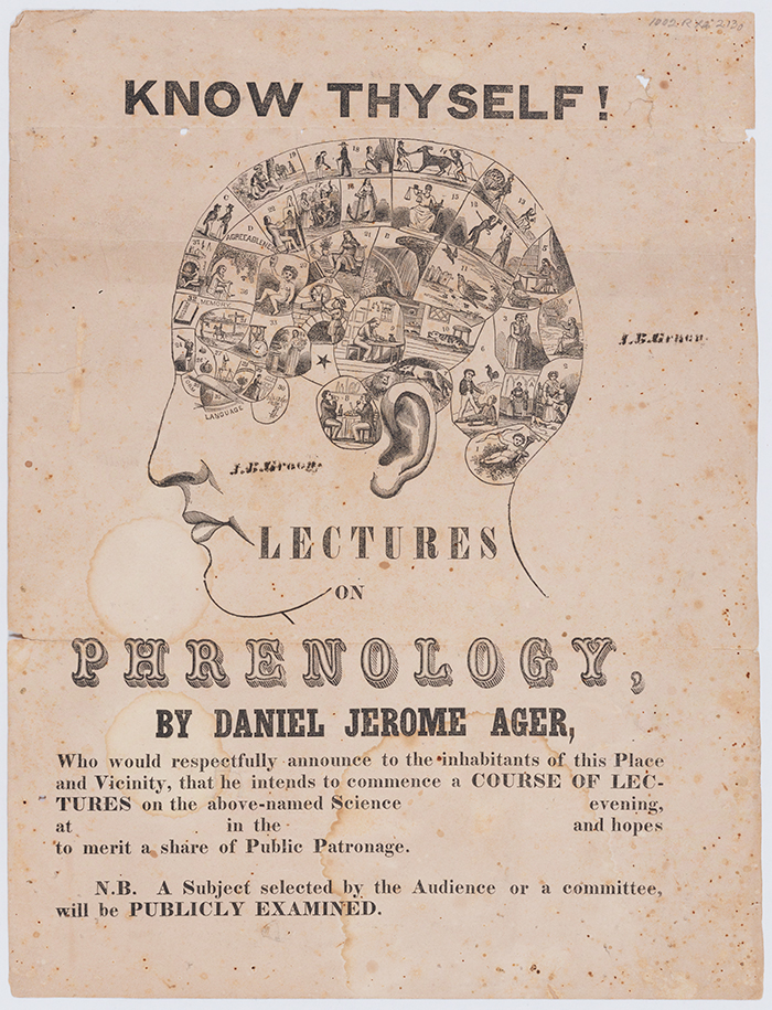 Flyer for a 19th-century course of lectures on phrenology