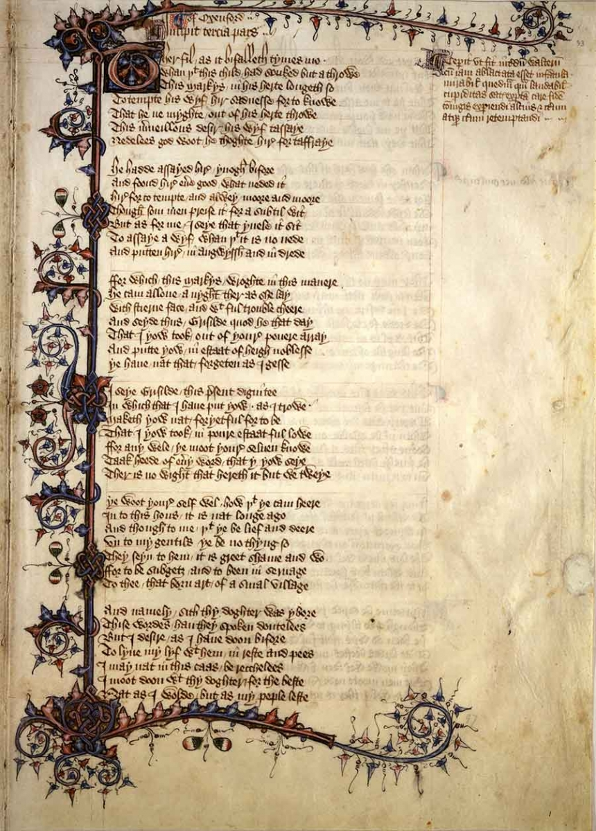 The Ellesmere Chaucer, a beautifully decorated manuscript of Geoffrey Chaucer's Canterbury Tales, was created between approximately 1400 and 1410, using iron gall ink for the text lettering. The Huntington Library, Art Collections, and Botanical Gardens.