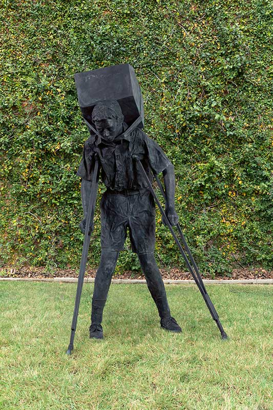 Enrique Martínez Celaya, The Gambler (installed at the artist's studio, Culver City, Calif.), 2010. Bronze, 69 x 30 x 38 1/2 in. Courtesy of the artist and Jack Shainman Gallery, New York. Photo: Studio Enrique Martínez Celaya.
