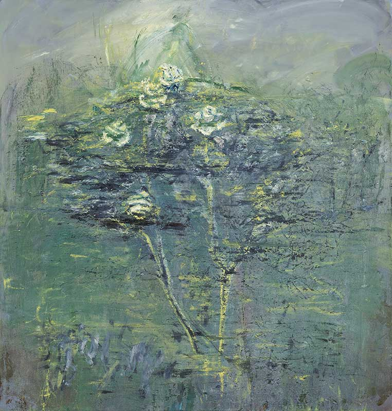 Celia Paul, Rosebush, Magdalene Garden, 2017. Oil on canvas, 42 1/8 x 40 1/4 in. © Celia Paul. Courtesy of the artist and Victoria Miro, London / Venice.