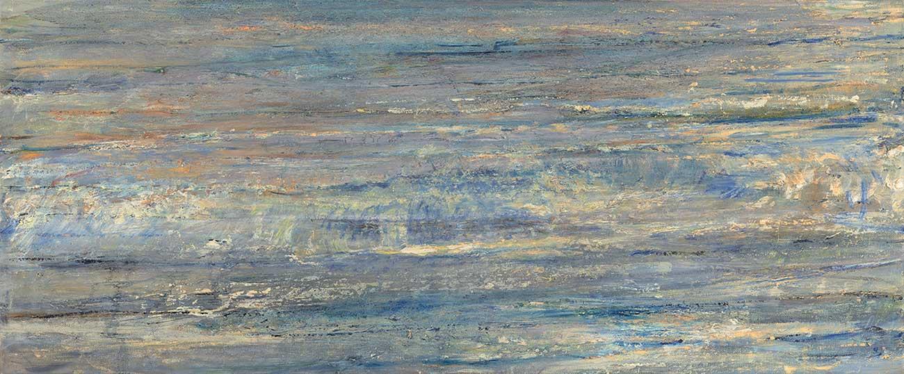 Celia Paul, Shoreline, 2015–16. Oil on canvas, 24 1/4 x 58 in. © Celia Paul. Courtesy of the artist and Victoria Miro, London / Venice.