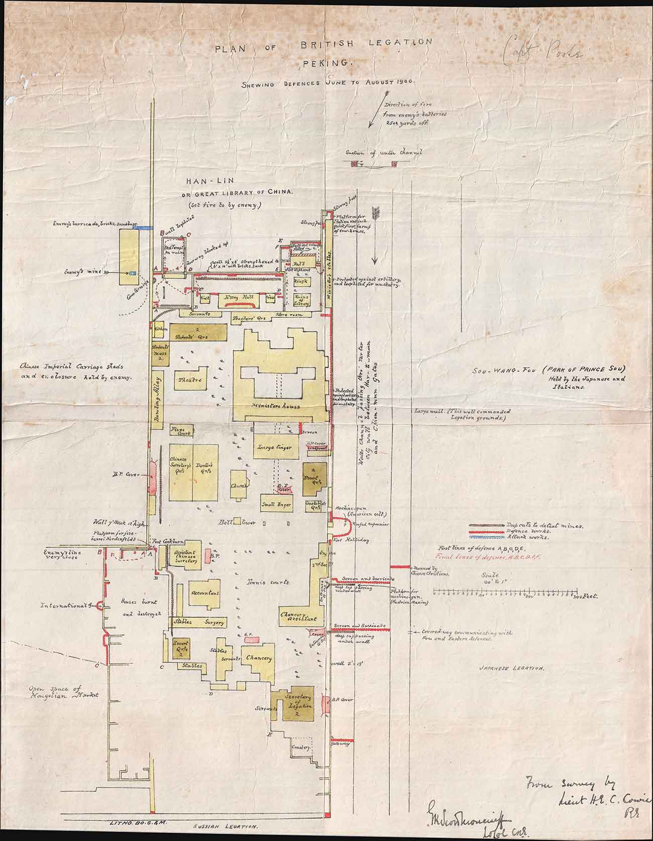 Henry Edward Colvin Cowie, Plan of British Legation Peking Shewing Defences June to August 1900, 21.5 x 17 in. The Huntington Library, Art Collections, and Botanical Gardens.