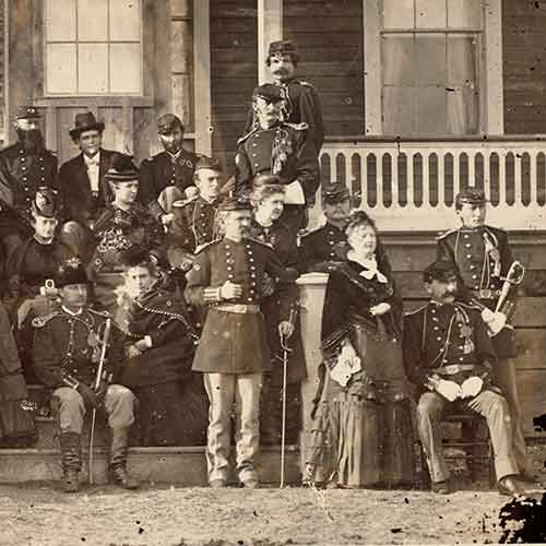 Old photograph of George Amstrong Custer in a group