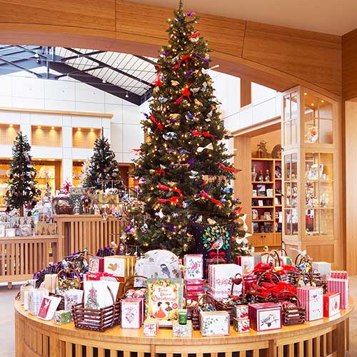 inside store with christmas tree and decorations