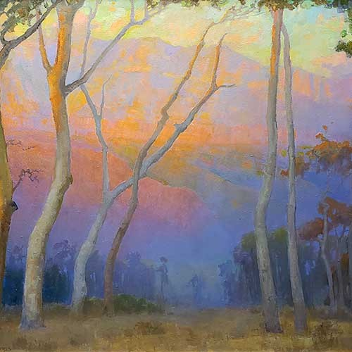 Eucalyptus Overlooking the San Gabriels at Sunset painting by Peter Adams