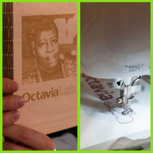 Cover of Octavia E. Butler book and detail of sewing machine