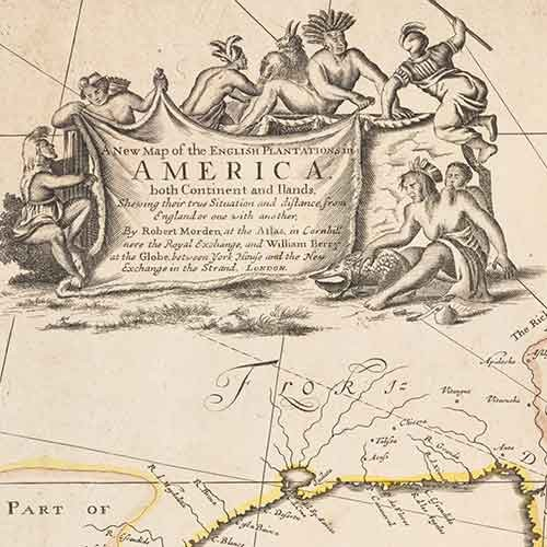 Detail of 18th century map with indigenous people