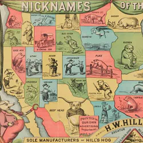 Detail of map of the USA with agricultural nicknames