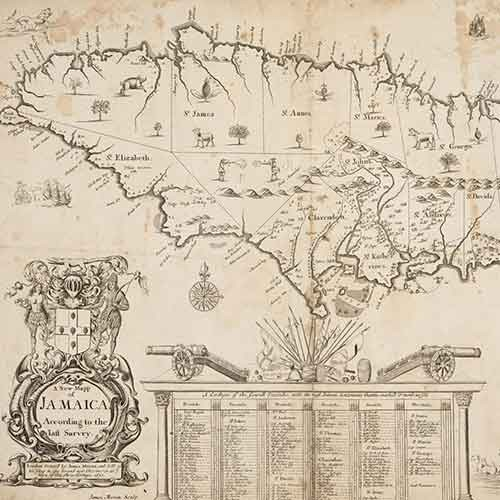 Early modern map of Jamaica