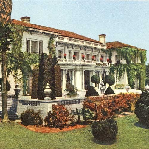 Vintage colored postcard of the Huntington Art Gallery