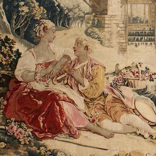 Tapestry of an 18th century couple
