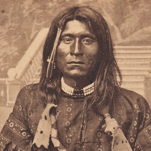 A photograph of a Native American