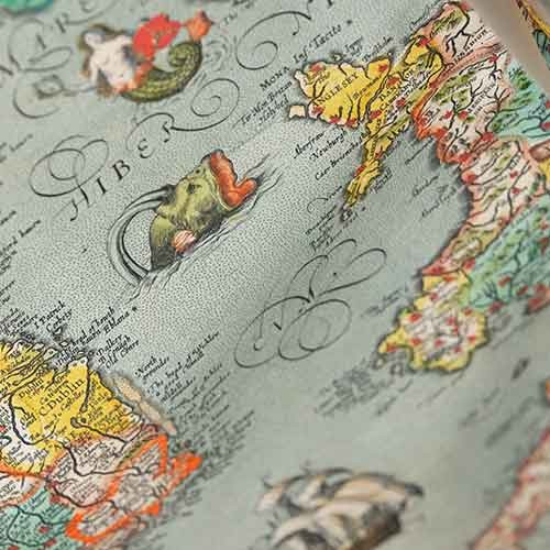 Detail of sea monster on old map of the world