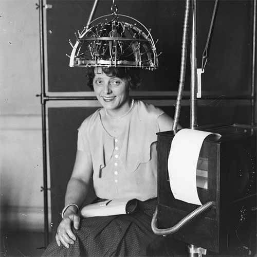 Photograph of woman trying medical device