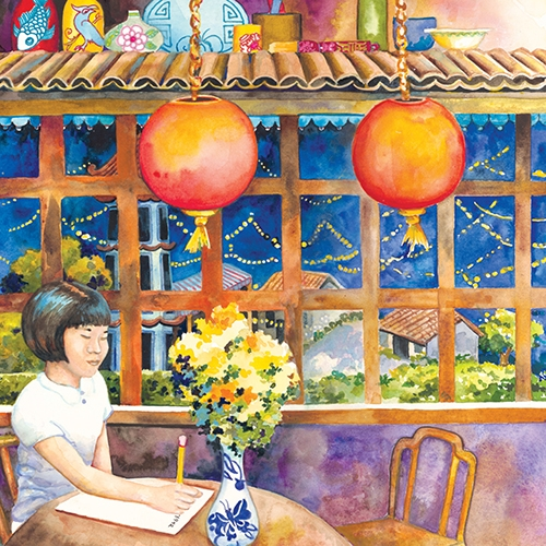 Illustration of a Chinese girl writing a letter
