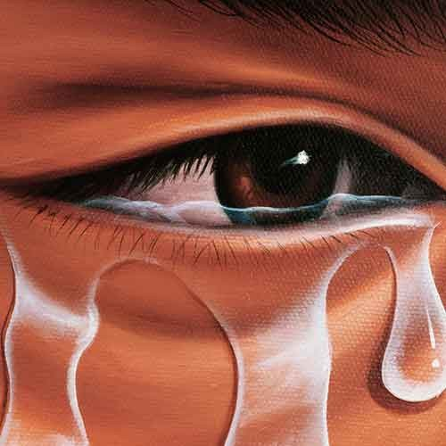 Closeup of a painting of a crying eye