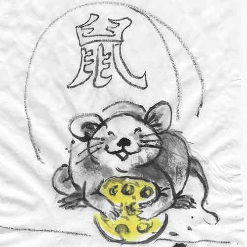 Chinese brush painting of a mouse