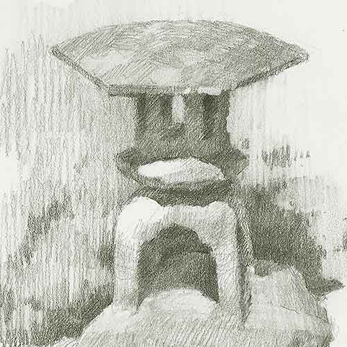 Drawing of stone lantern