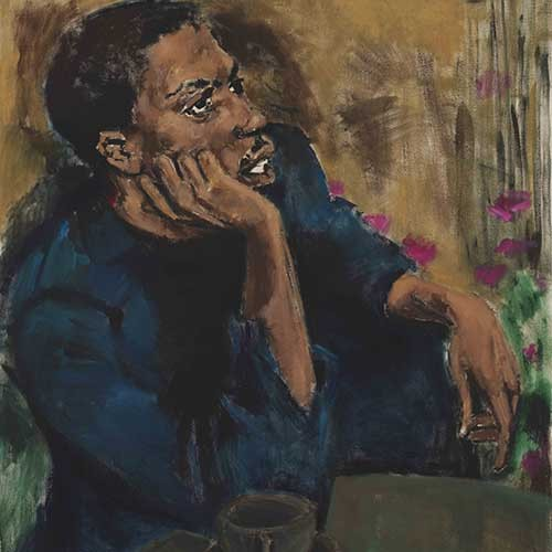 """Image credit: Lynette Yiadom-Boakye, """"Brothers To A Garden,"""" 2017. Oil on linen, 59 x 48 in. © Lynette Yiadom-Boakye. Courtesy of the artist, Jack Shainman Gallery, New York and Corvi-Mora, London."""
