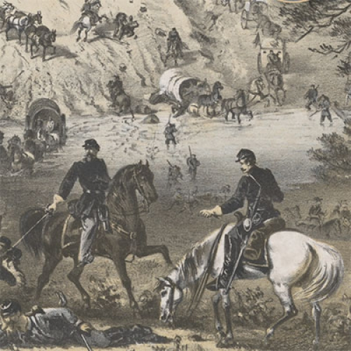 men riding horses in Civil War