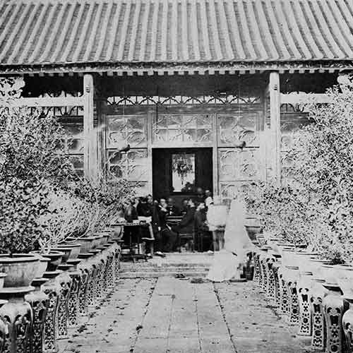 John Frederick Crease (British), The house we tiffined in, in the Gardens... [Canton, China], 1858, Albumen photograph [Source: Royal British Columbia Museum]