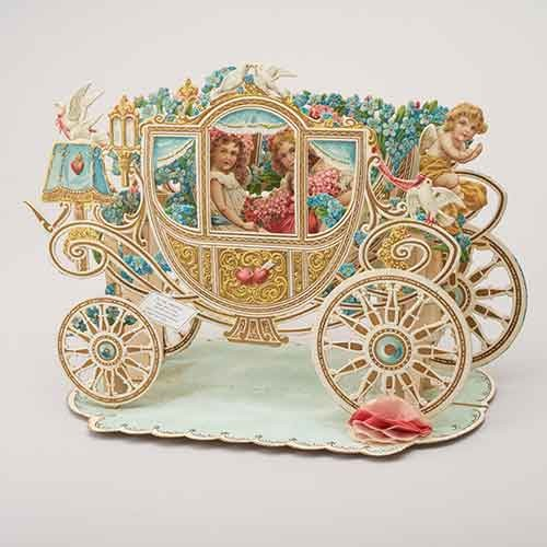 Vintage valentine card shaped as a carriage