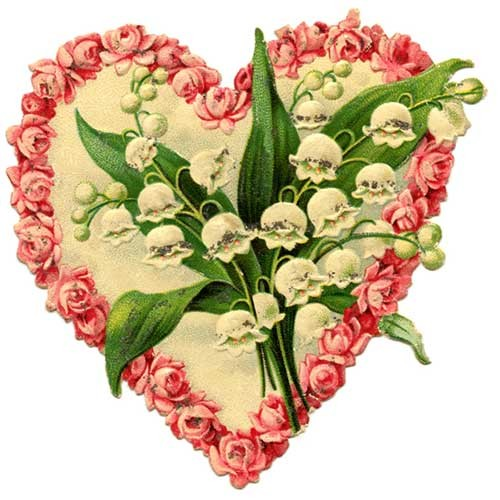 Victorian illustration of heart with lily of the valley