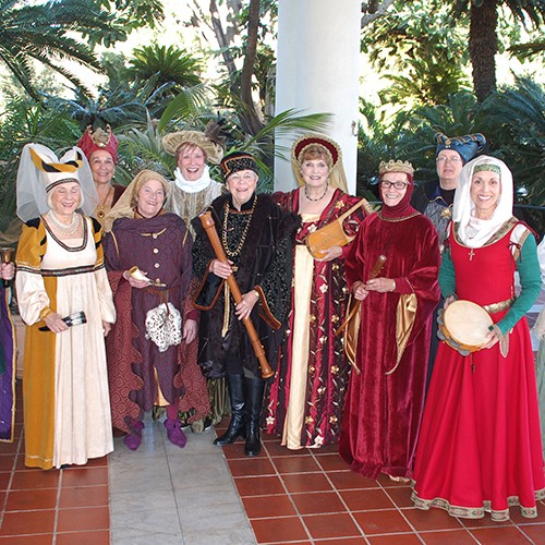 Women dressed in Renaissance costumes