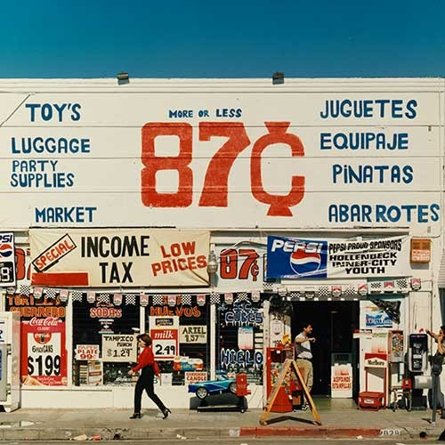 Colored print of 87 cents store