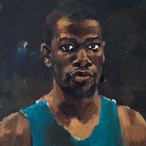 Portrait of black man by Lynette Yiadom-Boakye