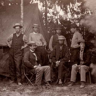 Photograph of Maj. Thomas T. Eckert and his team at the War's Department's military telegraph office