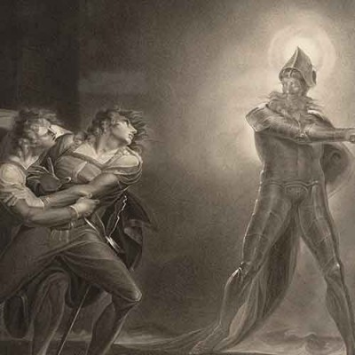 Hamlet and the ghost of Hamlet's father in Hamlet, Prince of Denmark, Act I, Scene IV (engraving based on a painting by Henry Fuseli)